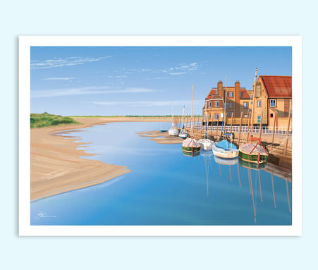 Blakeney Quay Norfolk art print  by Geraldine Burles