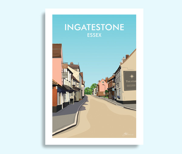 Ingatestone Essex travel print