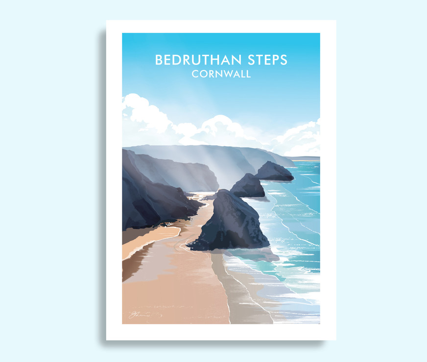 Bedruthan Steps, Cornwall travel print