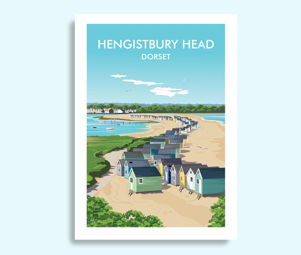 Hengistbury Head Dorset travel print