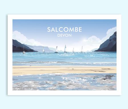 Salcombe South Sands travel print
