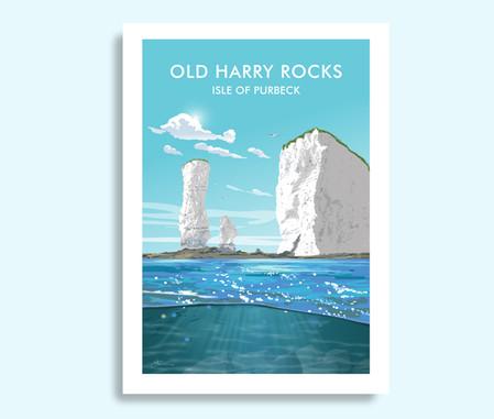 Old Harry Rocks Dorset travel print