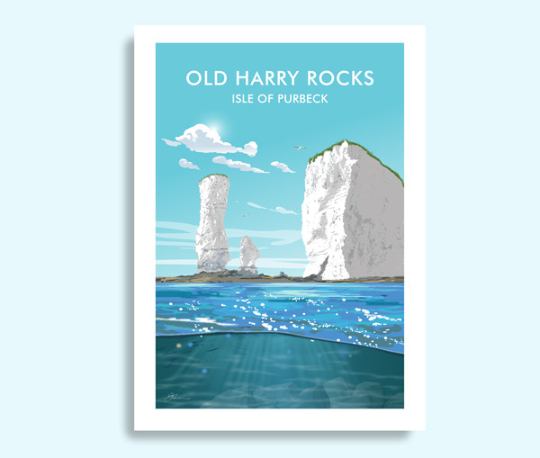 Old Harry Rocks Dorset travel print