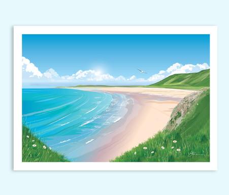 Rhossili Bay, Gower Peninsula travel print