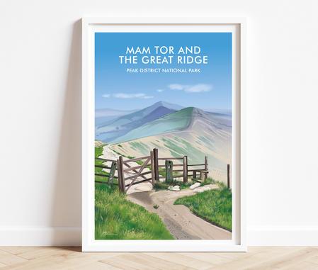 Mam Tor Peak District prints, National Park print posters