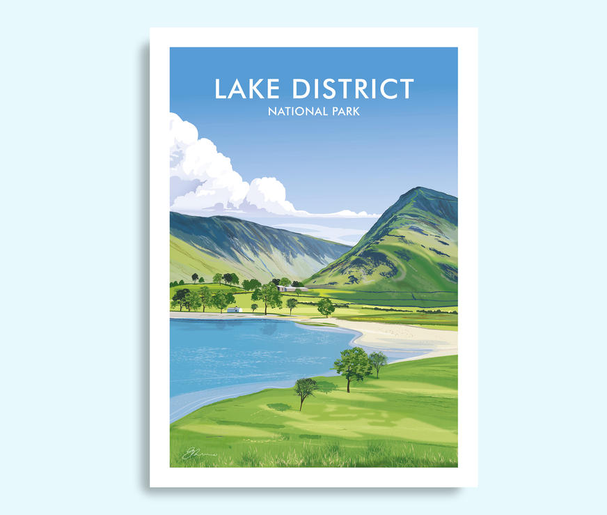 Buttermere Lake District travel print