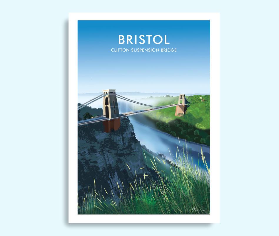 Bristol travel print, Clifton Suspension Bridge poster
