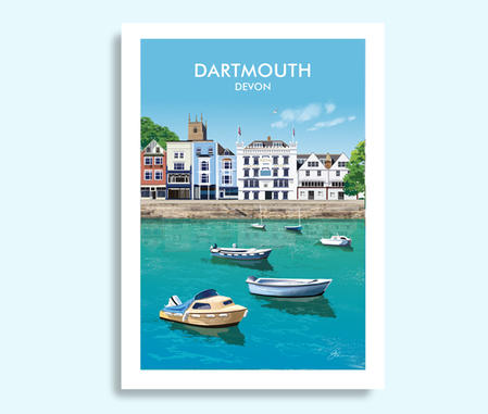 Dartmouth harbour travel print