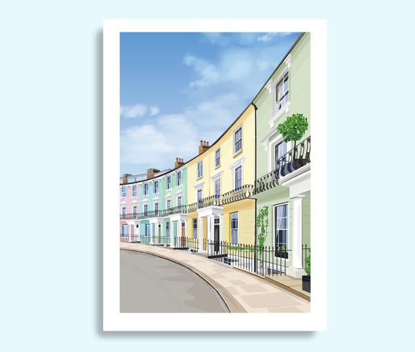 Pastel houses, Primrose Hill travel print