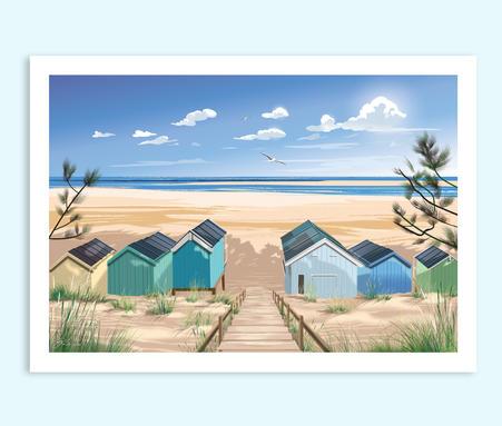 Wells-next-the-Sea travel print, Norfolk coast print, Norfolk beach huts, Holkham Beach Huts, Travel print/poster by Geraldine Burles