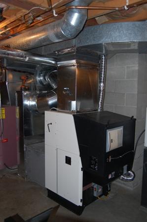 Harmon pellet furnace installation, Mont Vernon, NH
