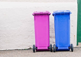 Blue and pink waste bins against a stone