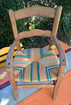 Petit fauteuil paillé