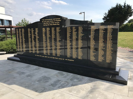 New War Memorial completed at Finchley Memorial Hospital.