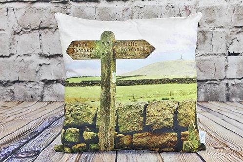 """Stoodley Sign""  Todmorden.  Printed Cushion"