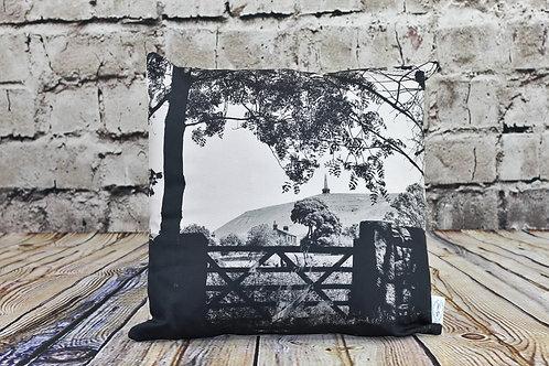 Todmorden, Stoodley Gate, B&W - Printed cushion