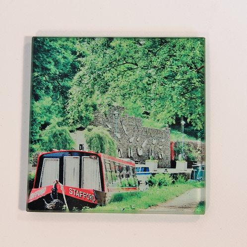 Glass Coaster,  Todmorden, Canal scene