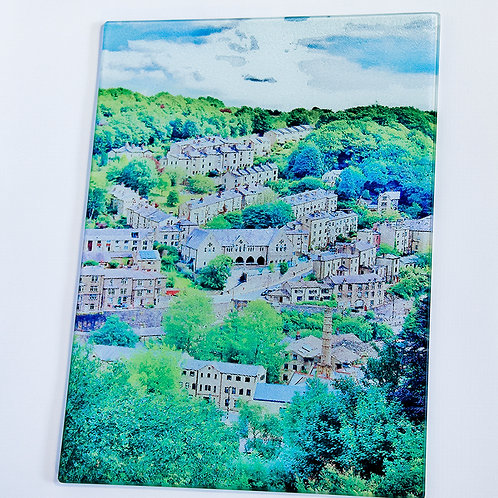 Glass Chopping Board -Hebden Bridge, Birchcliffe