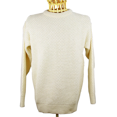 Honeycomb Knit 100% Wool - Cream