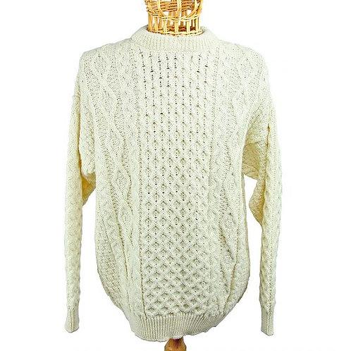 Fisherman Knit 100% Wool - Cream