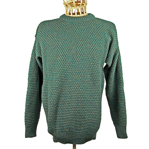 Honeycomb Knit 100% Wool -Green