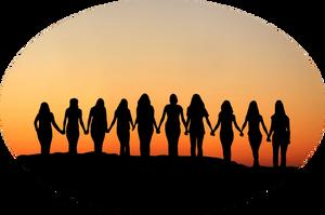 Women-joining-hands-sunset