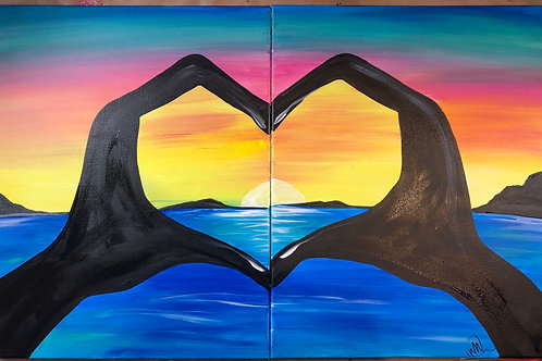 """Saturday, Oct 17th @2pm """"Love Hands On The Lake""""(price includes 2 painters)"""