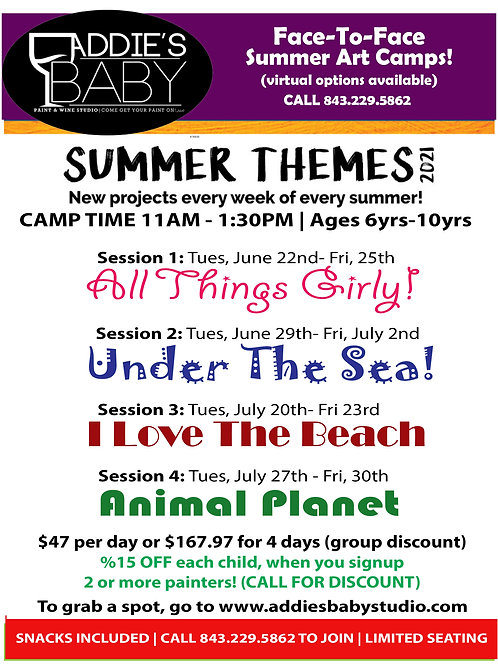 SUMMER CAMPS 2021 Ages 6yrs-10yrs