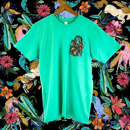 T-shirt unisex vert aqua à poche licorne