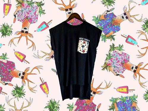 T-shirt fluide femme noir à poche chevreuil
