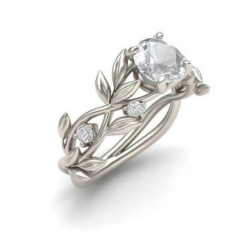 Superb Women's Floral Transparent Flower Vine Leaf Ring