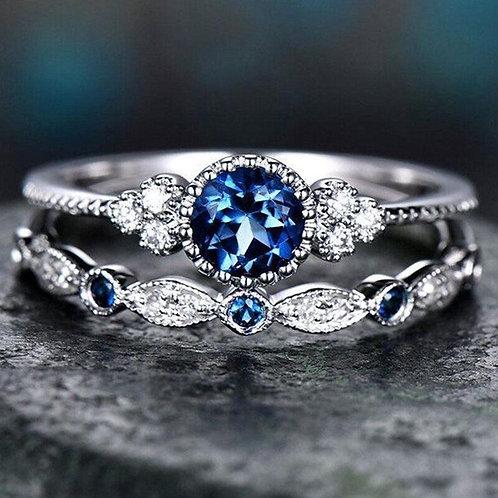 2Pcs Set Luxury Stone Crystal Ring - Purple, Blue, Green