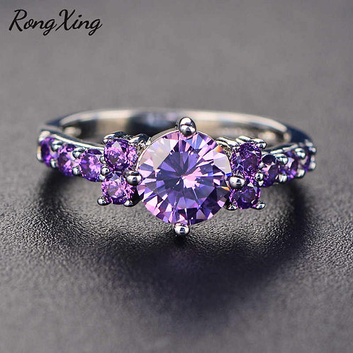 Fashion Silver Purple Amethyst Stackable Promise Ring