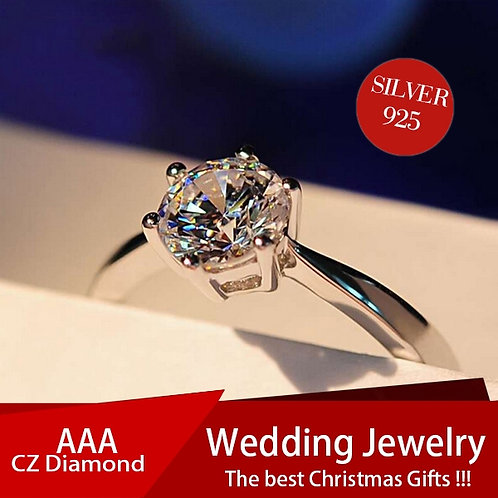 8mm Silver Six Claw Round AAA CZ Ring
