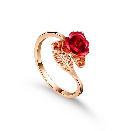 Exquisite Red Rose Gold Plated Flower Leaf Adjustable Rings