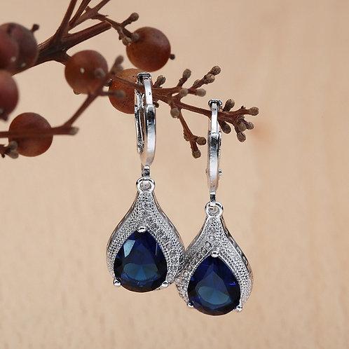 925 Sterling Silver Blue Sapphire Crystal Zircon Earrings