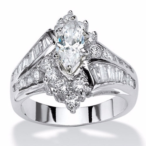 Platinum-Plated Marquise Engagement Ring Cubic Zirconia Size 7