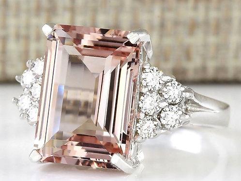 Big 5.14CT Morganite Orange Silver Ring
