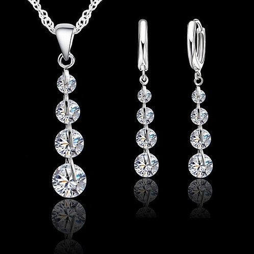 925 Sterling Silver Crystal Necklace Earring Set with Chain