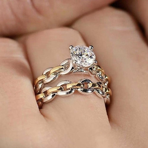 925 Sterling Silver Lovers Natural White Sapphire Diamond Ring Set