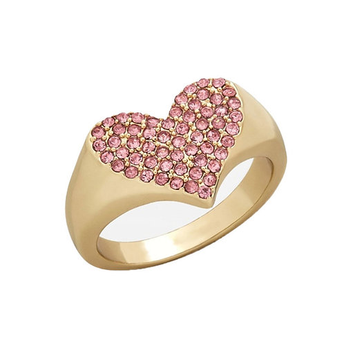 Delicate Love Heart Crystal Gold Inlaid Drill Ring