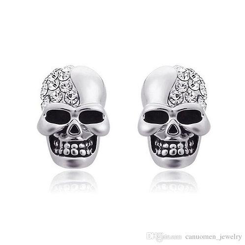 Punk Stainless Steel Crystal Cubic Zirconia Skull Stud Earrings