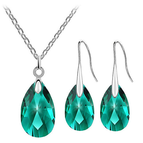 Crystal Teardrop-Shaped Necklace Earrings Sets