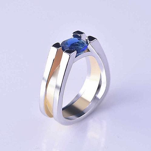Two-Tone Silver Inlaid Geometric Blue Zircon Stone Ring