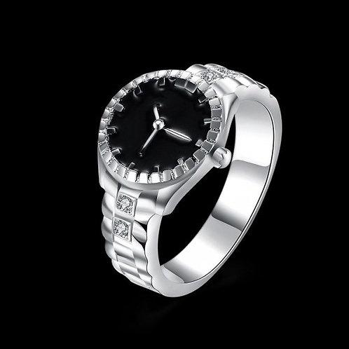Rhinestone Detail Analog Watch Shaped Clock Fashion Ring