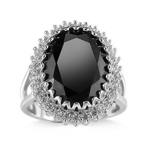New Cut Black Sapphire Garnet Sapphire and Topaz Genuine Sterling Silver Ring