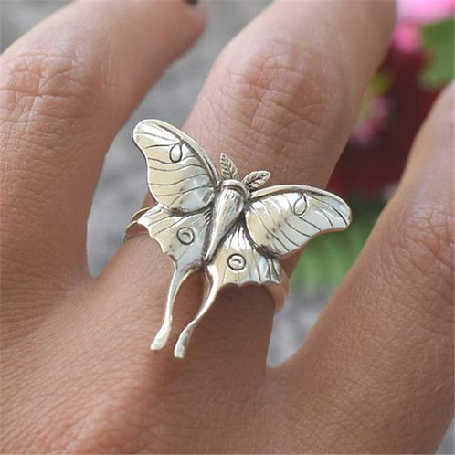 Women's Retro Silver Butterfly Design Ring