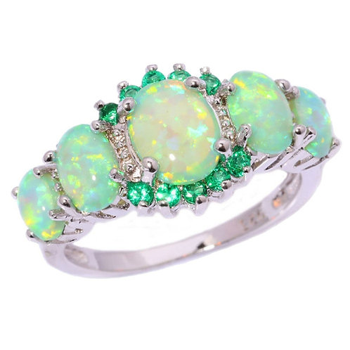 Green And Blue Fire Opal and Jade Silver Rings