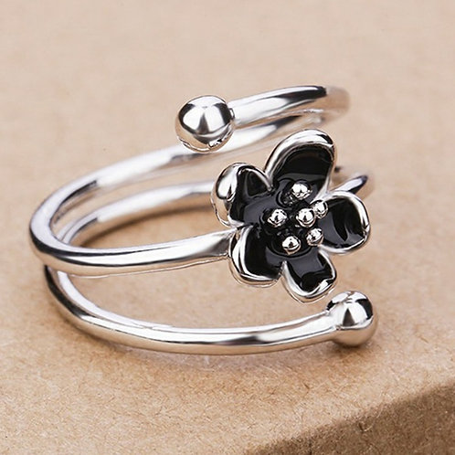 Black Flower Mystic Silver Floral Open Ring