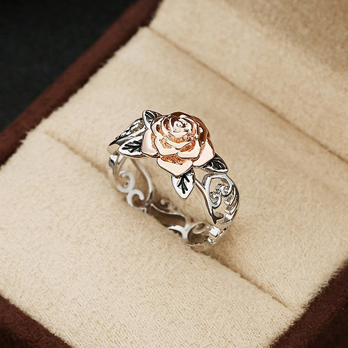 Exquisite Silver Floral Rose Flower Ring
